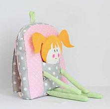 Detské tašky - RUKSAK s BÁBIKOU malý, sivo - ružový - 7850765_