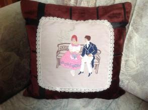 Úžitkový textil - Zaľúbenci na lavičke - 7848532_