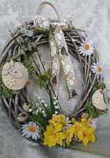 Dekorácie - Jarný ovečkový veniec - 7849336_