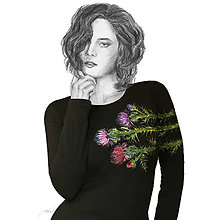 Tričká - Maľované čierne tričko Bodliaky - 7846586_
