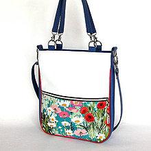 Veľké tašky - Basic - Zipp - Modrá s kvetmi - 7847813_