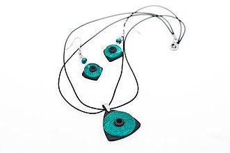 Sady šperkov - Tyrkysovo - čierny set - prívesok s náušnicami - 7850484_