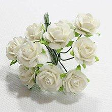 Papier - Papierové kvety - open roses biele (10ks, 1,5cm) - 7847363_