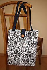Nákupné tašky - Taška pro velké slečny, paní- Modré kytičky - 7847816_