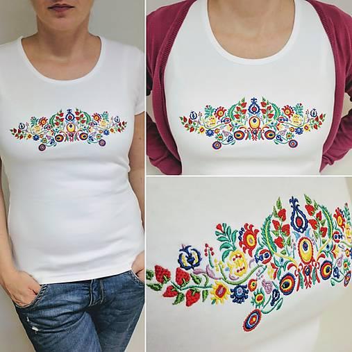 Vyšívané dámske tričko s veľkým ľudovým motívom