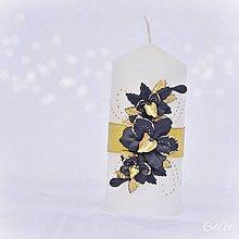 Svietidlá a sviečky - Luxusná svadba - sviečka na svadobný stôl - 7849762_