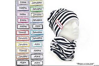 Detské súpravy - Bavlnený set s maľovaným menom Pick a color & prúžok navy - 7849640_