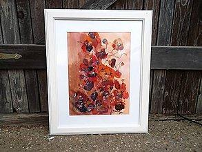 Obrazy - Ružičky divoké...maľba na hodvábe - 7850156_