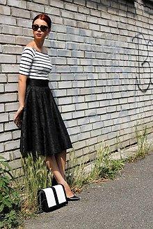 Sukne - Čierna kruhová sukňa - 7849425_