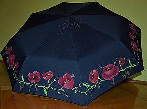 Iné doplnky - ručne maľovaný dáždnik- vlčie maky - 7849692_