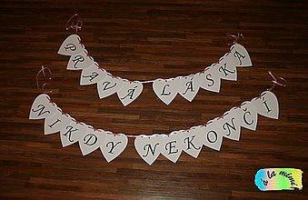 Tabuľky - Girlanda Pravá láska nikdy nekončí - 7851829_