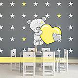 Dekorácie - (3565f) Nálepky na stenu - Sivý macko s hviezdami - 7851507_