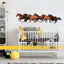 Dekorácie - (3371f) Nálepka na stenu - Stádo koní - 7852486_