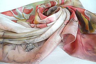 Šatky - Luxusní šátek s tepanou sponou. - 7853408_