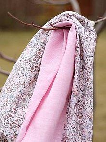 Šatky - Dámsky ružový nákrčník z francúzskeho ľanu - 7851531_