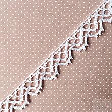 Galantéria - bavlnená paličkovaná čipka 15 mm x 1 m - 7853041_