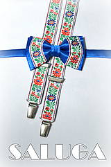 Doplnky - Folklórny pánsky modrý motýlik a traky - folkový - ľudový - 7853853_