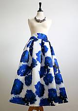 Sukne - sukňa veľké modré kvety - 7854153_