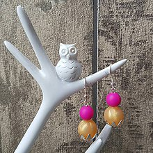 """Náušnice - Náušnice k náhrdelníku na kojenie """"Zlatá s cyklámenovou"""" - 7854435_"""