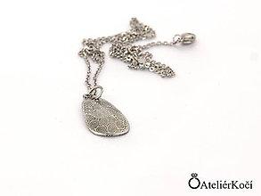 Náhrdelníky - Originální přívěsek z damasteelu ve tvaru kapky - 7853519_