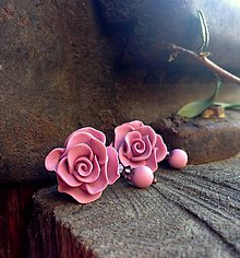 Náušnice - Purple roses - 7853741_