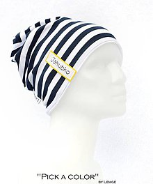 Detské čiapky - Bavlnená čiapka  s maľovaným menom Pick a color & prúžok navy - 7851851_
