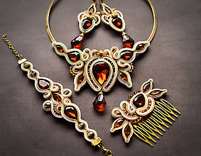 Sady šperkov - A Touch of Honey - náhrdelník, náušnice, náramok a hrebienok - 7852754_
