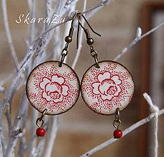 Náušnice - Folk mini ruže - 7853810_
