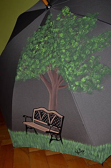 Iné doplnky - ručne maľovaný dáždnik- lavička - 7852350_