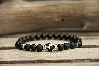 Šperky - Pánsky náramok onyx, achát - 7852337_