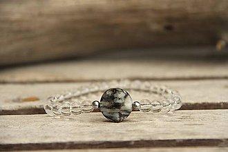 Náramky - Náramok z minerálov jaspis a krištáľ - 7854118_