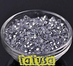 Korálky - Korálky - sklenené bicone brúsené 4mm metalické zrkadlové - 7855941_
