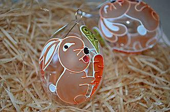 Dekorácie - Kraslica hnedý zajačik s mrkvou - 7858094_