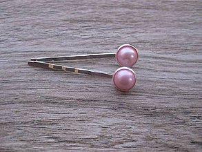 Ozdoby do vlasov - Ružové perly - sponky 2 ks - 7856951_