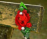 Ozdoby do vlasov - Čelenka na gumičke- červená ružička - 7858048_
