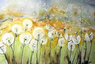 Obrazy - Obraz maľovaný na hodváb - Púpavové semienka - 7854744_