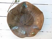 Nádoby - Veľká keramická misa na ovocie hnedá - List - 7861909_