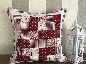 Úžitkový textil - Prehoz, vankúš patchwork vzor bielo - červený ( rôzne varianty veľkostí ) - 7863008_