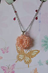 Náhrdelníky - Prívesok - Silver-Lined Milky Peach - 7862865_