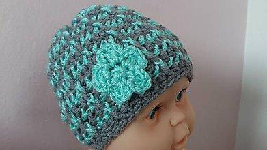 Detské čiapky - Detská čiapka sivo-tyrkysová - 7859651_