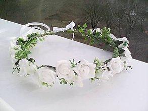 """Ozdoby do vlasov - Kvetinový venček do vlasov """"...biely svadobný..."""" - 7859887_"""