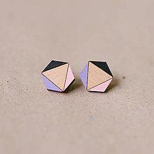 Náušnice - šesťuholník fialkový - napichovačky - 7858735_