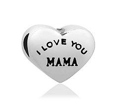 Korálky - Pandorková korálka srdiečko I LOVE YOU MAMA - 7860235_