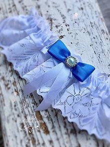 Bielizeň/Plavky - Luxusný svadobný podväzok Blue - 7860094_