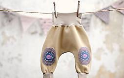 Detské oblečenie - Turky pískové s kytkou - 7860957_