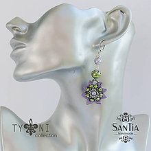 Náušnice - Náušnice obojstranné s visiacimi kvetmi (Fialovo-zelené) - 7862757_