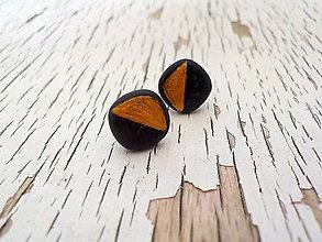 Náušnice - geometrické čierne ďobky - 7862582_
