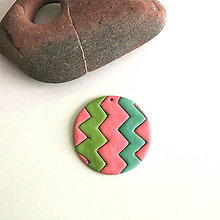 Náhrdelníky - Mozaikový prívesok (cikcak) - 7858466_