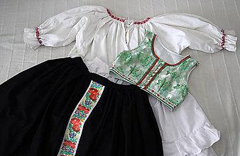 Iné oblečenie - Ženský krojový komplet s brokátovým lajblíkom - 7866810_