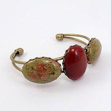 Náramky - Náramok s kamošonmi - Unakit a červený jaspis - 7865798_